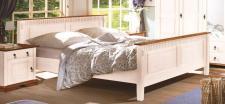 Bett 180x200 cm Valencina Pinie massiv weiß Abs. Honig