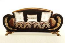 Couch Gala 3er schwarz Gold 140 Klassik Barock stil Orient