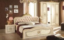 Schlafzimmer Alice in creme beige Barock Polsterung 160x200cm 4t
