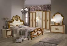 Schlafzimmer Agata in beige gold creme Klassik Barock 160x200
