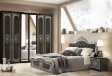Schlafzimmer Alice in schwarz SilberBarock 160x200cm 4tlg