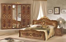 Schlafzimmer Alice in Walnuss Gold 160x200cm 4tlg