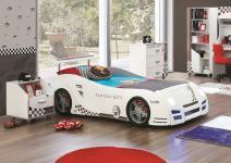 Autobett Turbo GT1 in weiss für Kinderzimmer und Nachtkonsole