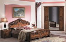 Schlafzimmer Florenz walnuss Bett 160x 200 cm braun Barock 4tlg