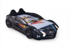 Autobett Turbo Racer schwarz mit LED und Polster Kinderbett