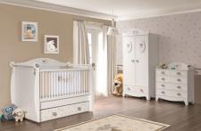 Babyzimmer Rabbit in weiss 3tlg mit 2trg. Kleiderschrank