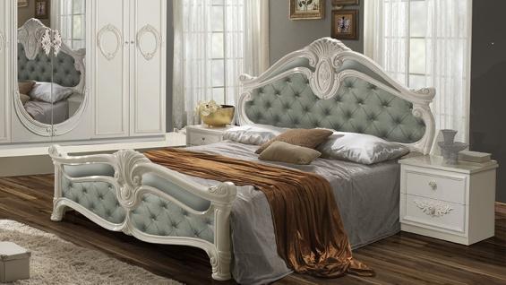 Bett Letizia 160x200 cm in Minze Weiß Barock Design