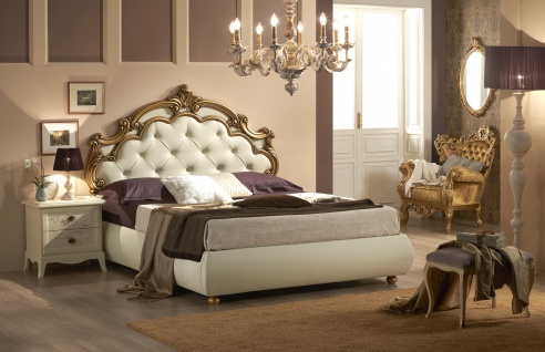 Bett Silvia mit Stauraum in Beige Gold Luxus Design
