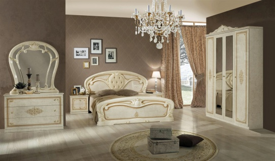Schlafzimmer Christina in Beige Gold Klassisch Design 7-teilig