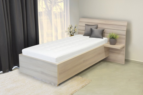 Schwebendes Bett Rielle 140x190 Eiche hell Kopfteil rechts