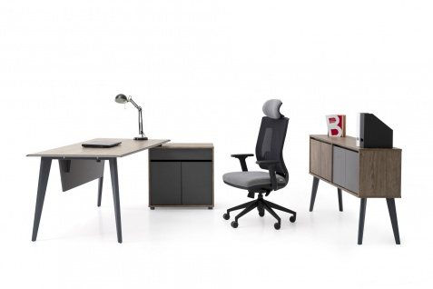 Ovali Schreibtisch Set 3-teilig Eco L3 180x80 cm