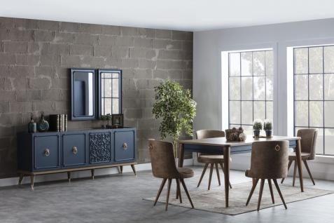 Esszimmer Set mit Sideboard 8-teilig Boston Blue