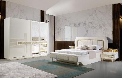 Schlafzimmer komplett Pena 5-teilig in Weiß/Gold