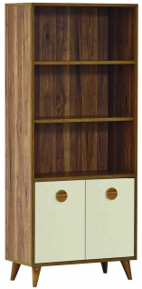 Bücherregal in Holz Optik Beige Retro Trend