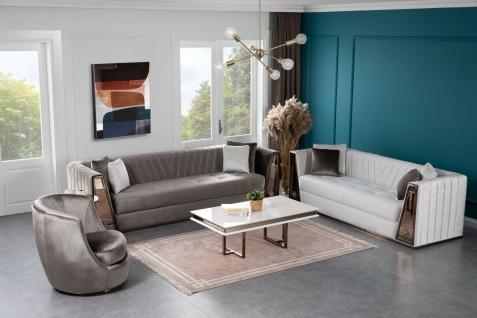 Lidya Wohnzimmer Couch Set Lucca Grau Weiß
