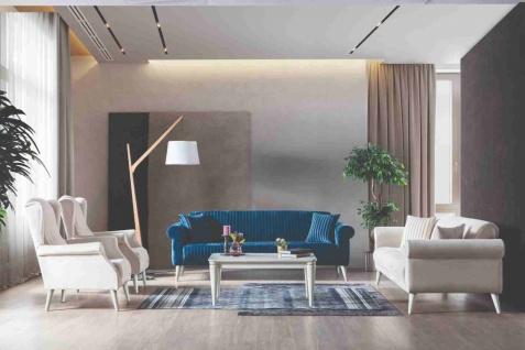 Weltew Couch Set Gino mit Schlafsofa in Blau/Creme