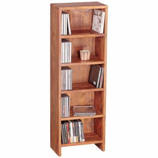 WOHNLING CD Regal Massivholz Sheesham Standregal 90 cm hoch CD-Aufbewahrung 5 Fächer Bücherregal natur Landhaus-Stil
