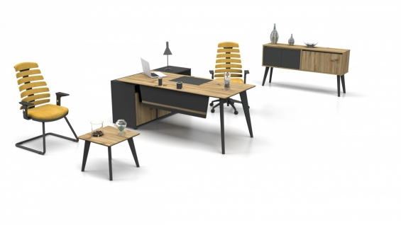 Büro Set mit Alluminium Ecol PlusL 3-teilig 180x80