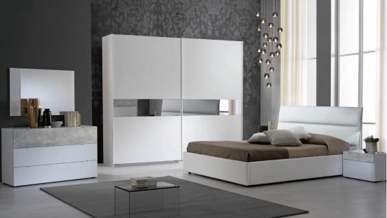 Schlafzimmer Set Miyuki in Weiß/Grau 180x200