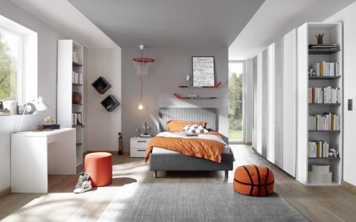 Design Polsterbett gestreift Space Grau 120x200