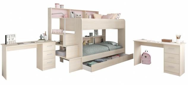 Parisot Hochbett Set mit Bettkasten und Schreibtischen