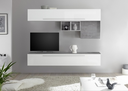 Wohnwand Veldig 6-teilig in Weiß Lack Beton Optik