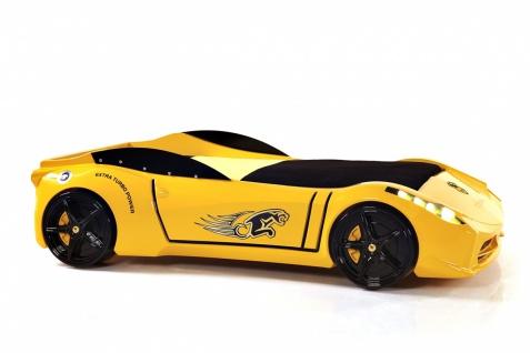 Autobett Cat Garage mit LED und Fernbedienung Gelb