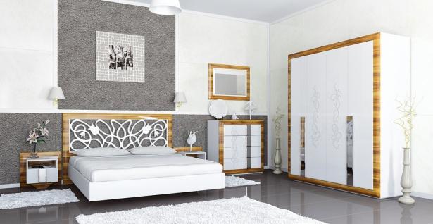 Schlafzimmer in Weiß Birne Optik glänzend Lotus 6-teilig