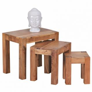 3-teiliger Satztisch Akazie Massivholz Beistelltisch