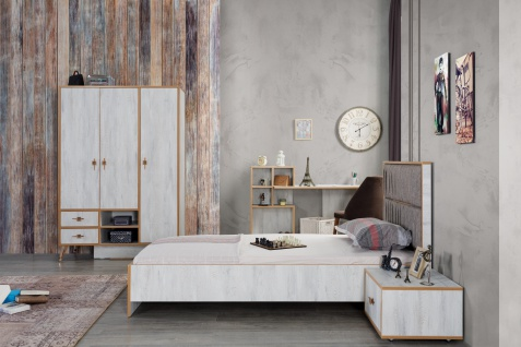 Design Jugendzimmer komplett Pearl White 4-teilig