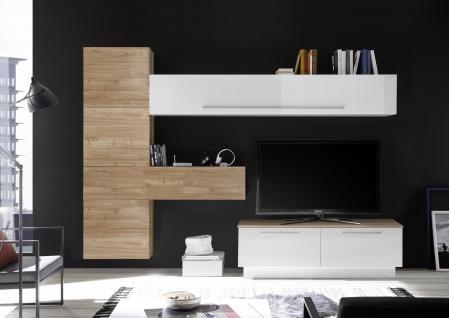 Wohnwand Set Veldig 7-teilig Weiß Nussbaum Optik