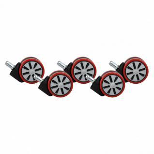 5er Set Design Rollen für Bürostuhl Bürostuhlrollen Rot PIN 11 mm / Durchmesser 60 mm (Hartbodenrollen)