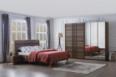 Schlafzimmerset mit Schwebetürschrank Mansat Braun