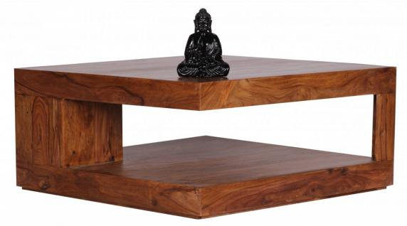 Sheesham Couchtisch Massiv 90 x 90 cm mit Ablage Massivholz