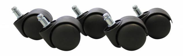 5er Set Rollen für Bürostuhl Schwarz 11 / 50 mm (Weichbodenrollen)