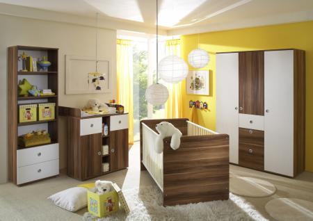 Babyzimmer Set Lilli 4-teilig Walnuss Weiß