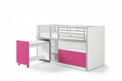 Bonny Hochbett 90x200 mit Schreibtisch Fuchsia