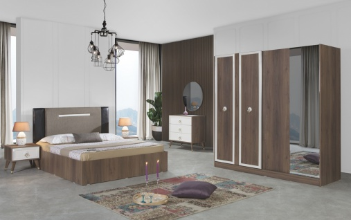 Schlafzimmer komplett Mono 6-teilig Walnuss Optik