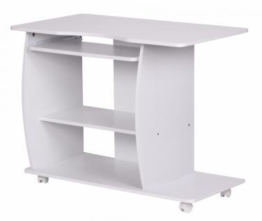 Computertisch Diana Weiß mit Rollen 90 cm