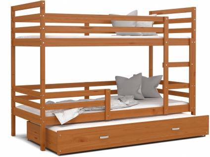 Etagenbett mit Gästebett inklusive Matratze Rico 80x190 Erle massiv