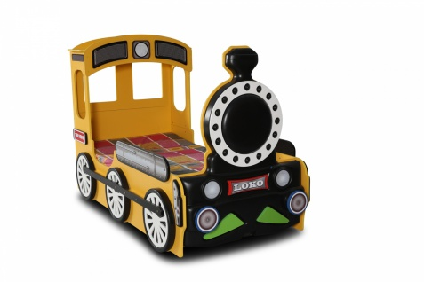 Lokomotive Kinderbett mit Matratze & Rost in Gelb