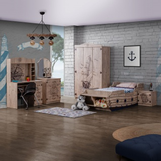 Odacix Kinderzimmer Gemici mit Boot Bett in Holzoptik