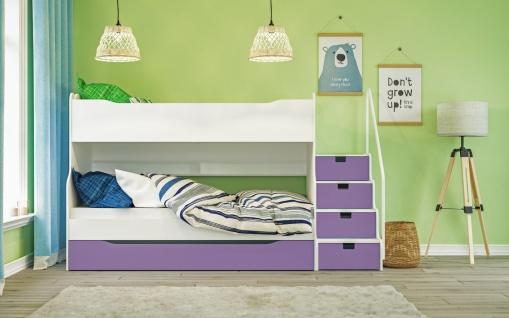 Etagenbett Max 4 mit Schubkastentreppe in Weiß Violett