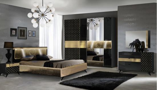 Zimmer Set Glamour Schwarz/Gold 160x200 komplett