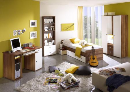 Jugendzimmer Mauris 4-teilig in Walnuss-Weiß