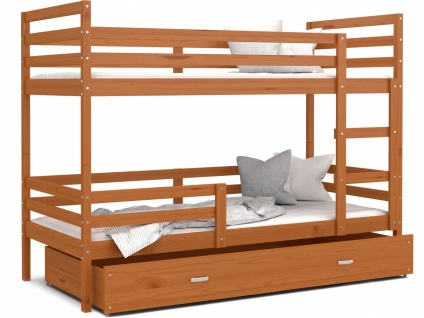 Etagenbett mit Bettkasten Erle massiv Rico 80x160