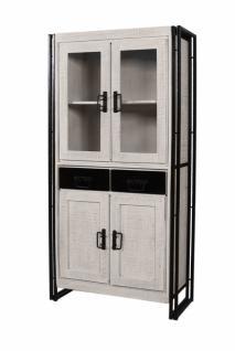 Vitrine Holz Whitop mit 4 Türen und Altmetallgestell