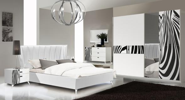 Schlafzimmer Set Savana 160x200 Weiß/Zebramuster