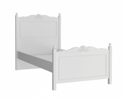 Einzelbett Lory mit hohem Kopfteil in Weiß 120x200