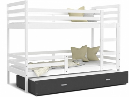 Etagenbett mit Gästebett Weiß Grau Rico 80x190